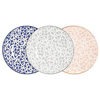 Nicola Spring 6-osainen päivänkakkarakuvioinen sivulevysetti - pienet posliiniset ruokailulautaset - 3 väriä - 19cm