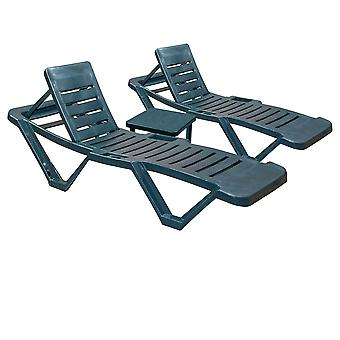 Resol Master Garden Sun Loungers with Side Table - Adjustable Reclining Outdoor Summer Furniture - Green - 3pc Set