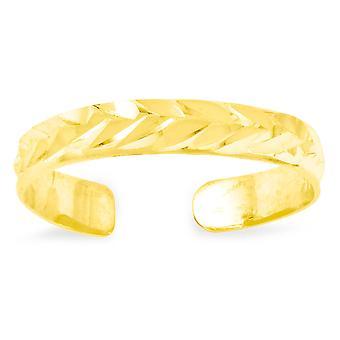 14k Gul Guld Sparkle Cut Toe Ring Smycken Gåvor för kvinnor - 0,4 gram