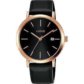 Lorus Męski zegarek z sunray czarny cyferblat & rose gold baton godziny markery RH934JX9