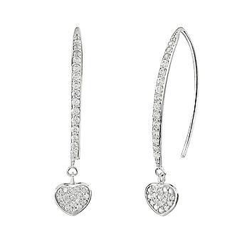 Dew Sterling Silver Pave Cubic Zirconia Heart Long Wire Earrings 5395CZ028