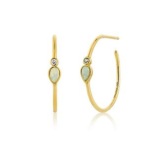 Ania Haie Silver Shiny Gold Plated Opal Colour Raindrop Hoop Earrings E014-04G