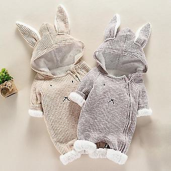 Infant Baby Cartoon Hooded 3d Ear Romper Jumpsuit Clothes Winter Warmer Newborn