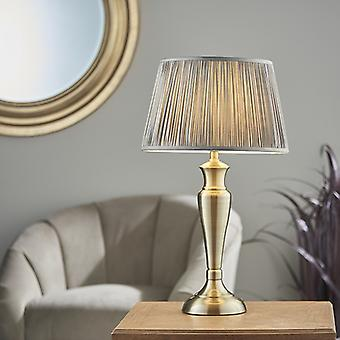 Endon Lighting Oslo & Freya - Table Lamp Antique Brass Plate & Charcoal Grey Silk 1 Light IP20 - E27