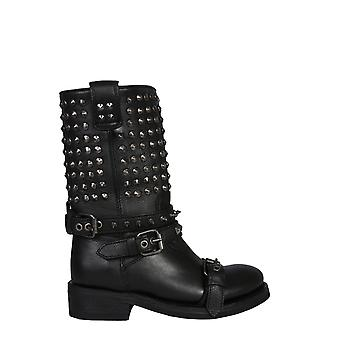Ash Troop01 Women's Black Leather Ankle Boots