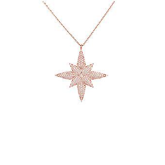 Star Blomma Hängande Halsband Rosa Ros Guld Sterling Sterling Silver Kedja 45cm Vit CZ