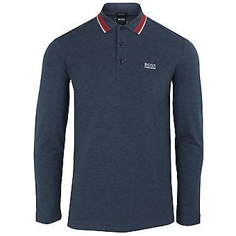 Hugo boss men's navy marl plisy polo shirt