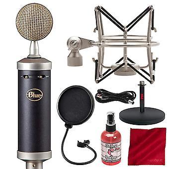 Blå babyflaska sl stormembran studio kondensormikrofon med popfilter och tillbehörspaket