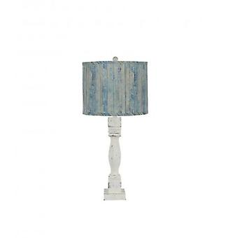 Distressed White Table Lamp with Wood Planks in Blue Shade