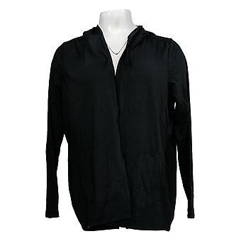 أي شخص Women's سترة ملابس الصالة مريحة متماسكة مقنعين الكارديجان الأسود A349790