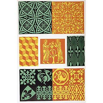 French Medieval Floor Tiles From Les Artes Au Moyen Age Published Paris 1873 PosterPrint
