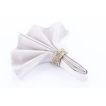 Obrúsky prsteň korálkové krém / Crystal / Gold - sada 4 kusy