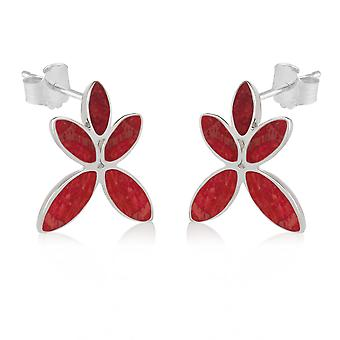 ADEN 925 Sterling Silver Coral Flower Earrings (id 3702)