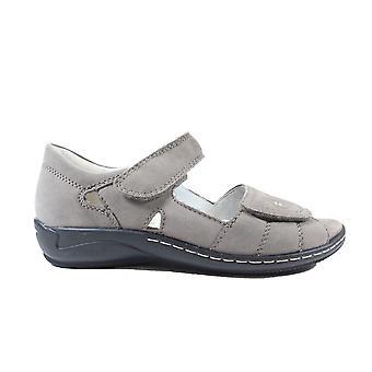 Waldläufer Hilena 582028 191 088 Grey Nubuck Leather Womens Wide Fit Adjustable Sandals