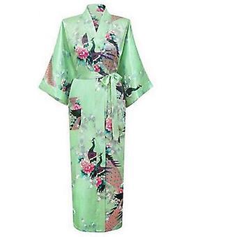 المرأة وصيفات الشرف الأزهار طويل كيمونو روب الحرير ثوب خلع الملابس