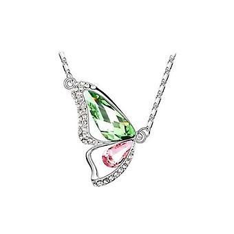 Green Peridot en Lichtroze - Breken cocoon zilveren ketting met Swarovski Kristal Elementen