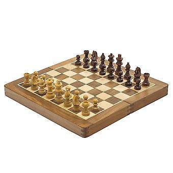 ديلوكس الخشب الصلب للطي السفر 12 بوصة مجموعة الشطرنج - المغناطيسي