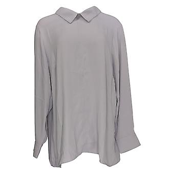 Martha Stewart Mujeres's Top Collared w / Back Button Detail Purple A342525