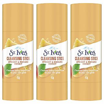 St. Ives Facial Cleansing Stick, Apricot & Manuka Honey, 3 Pack, 45g