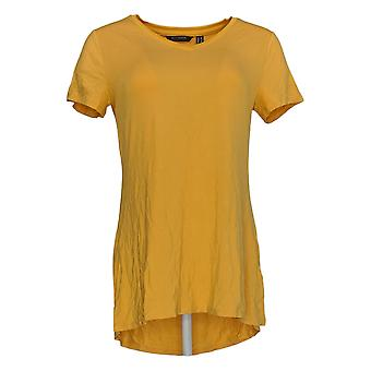 H By Halston Women's Top Short Sleeve V Neck Tunic Yellow A366417