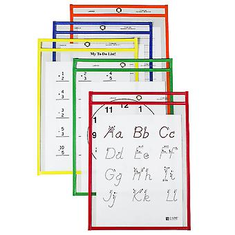 Reusable Dry Erase Pockets, Primary Colors, 9 X 12, Pack Of 25