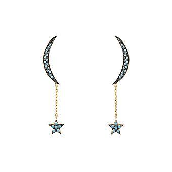 Mond und Sterne Ohrring Gold Türkis
