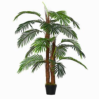 Outsunny 120cm/4FT Artificial Palm Tree Decorative Plant  w/ 19 Leaves Nursery Pot Fake Plastic Indoor Outdoor Greenery Home Office Décor