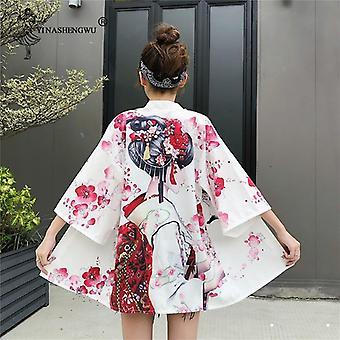 Styles Kawaii Print Crane Cosplay Yukata Harajuku Shirts Japan Women Haori