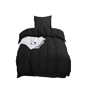Tavallinen musta pussilakanasarja yksikokoinen vetoketjulla 135 x 200cm 1 tyynynpäällinen Erittäin pehmeä hypoallergeeninen mikrokuitupeittosarja