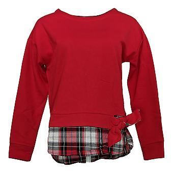 IZOD Women's Tie-Front 2-Fer Scoop Neck Sweatshirt Red