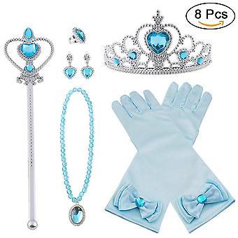 Vicloon princess costumes set of 9 pieces gift from tiara, gloves, magic wand, upgrade princess brai wof44041
