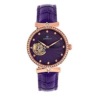 Keisarinna Edith semi-Skeleton nahka-Band Watch-violetti