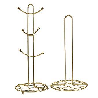 Vertex Deco Mug Tree & Kitchen Roll Holder, Gold