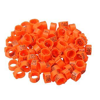 100 x Plastic Numbered Leg Clip Rings for Racing Pigeons Orange 9.5mm Diameter