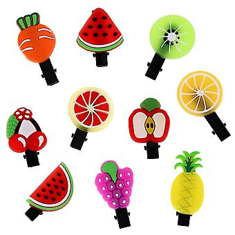 10x Hair clips, Fruits - No.1