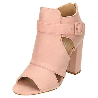 Koi Footwear Ankle Strap Boots High Block Heel Peep Toe Cut Out Suede