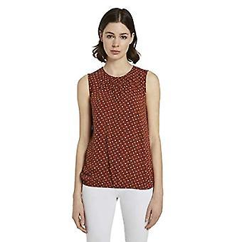 Tom Tailor Rundhals T-Shirt, 24044/Brown Geometric Desi, 46 Donna