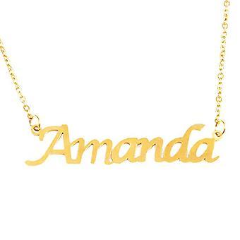 Kigu Amanda Custom Name - Guldpläterat halsband 18 kt - Justerbar kedja 40,6 cm - 48,3 cm packning