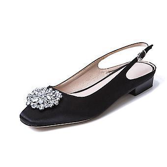 Women Pumps Satin Summer Buckle Slingback Shoes Handmade Square Heels Low Crystal Silk Fabric Footwear