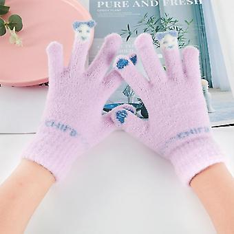子供の冬の編み物フリース裏地サーマルスキータッチスクリーンミンクのような