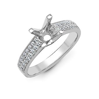 Jewelco London Solid 18ct White Gold Pave Set Round G SI1 0.43ct Diamond Semi Set Mount Engagement Ring 6mm