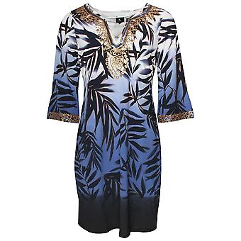 K-design Long Sleeve Palm Print Dress