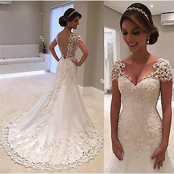 New Illusion Backless Lace Mermaid Wedding Dress