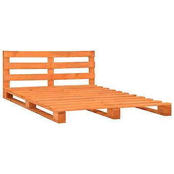 vidaXL Pallet Bed Bruin Massief Hout Grenen 140×200 cm
