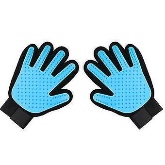 A pair sky blue silicone glove for pet hair brush, cleaning, massage, grooming az4806