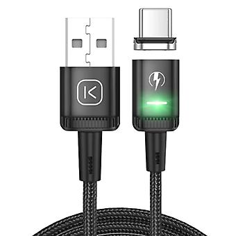 Kuulaa USB-C Magnetic Charging Cable 2 Meters with LED Light - 3A Fast Charging Braided Nylon Charger Data Cable Android Black