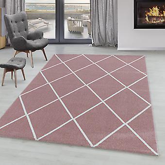 Sala de estar alfombra IROH corto pila diseño rombo líneas modernas colores lisos