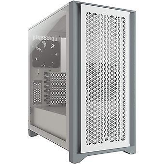 Corsair 4000D Airflow Gaming Case mit gehärtetem Glasfenster, E-ATX, 2 x AirGuide Lüfter, High-Airflow Frontpanel, USB-C, Weiß