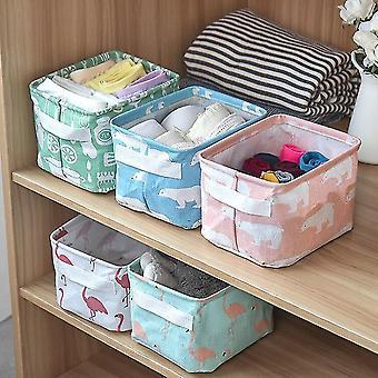 2pcs Linen Desktop Storage Box Waterproof Toy Sundries Storage Basket Cosmetic Underware Storage
