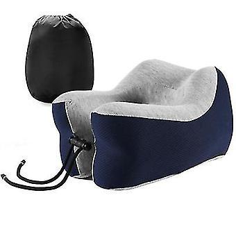 U-shaped lunch break pillow, slow rebound memory foam travel pillow(Navy Blue)